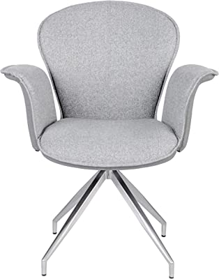 Euro Style Fella Swivel Arm Chair in Gray with Brushed Stainless Steel Base