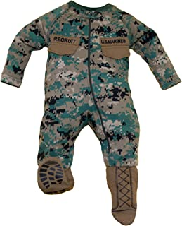 U.S.M.C. Baby Boys Woodland Camo Crawler with Recruit Boots