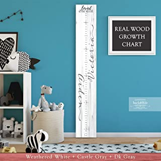 Wooden Kids Growth Height Chart Ruler for Boys and Girls Painted Two Names (The Aiden) Back40Life - Express Edition