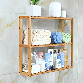 HOMFA Bamboo Bathroom Shelf 3-Tier Multifunctional Adjustable Layer Rack Wall Mounted Utility Storage Organizer Bathroom Kitchen Living Room Holder