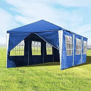 wolketon Pavillon mit 8 Seitenteilen Blau Partyzelt Gartenzelt 100G PE Dach Praktischer Großes Zelt 3x9m für Garten/Party/Hochzeit/Picknick/Markt