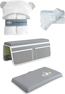 Complete Baby Bath 6 PIECE SET with Bath Kneeler, Elbow Rest, Cute Hooded Bamboo Towel, 3 Quality Bamboo Washcloths. Perfect Gift Idea by Downtown Baby