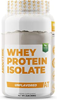 About Time Whey Isolate Protein, Non-GMO, All Natural, Lactose/Gluten Free, 24g of Protein Per Serving (Unflavored - 2 Pounds)