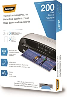 Fellowes Thermal Laminating Pouches, 3 mil, 200 Pack - 5743401 (Renewed)