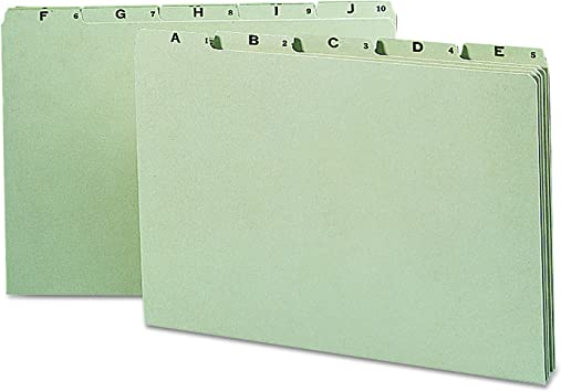 Amazon Com Smead 100 Recycled Pressboard File Guides 1 5 Cut Tab A Z Legal Size Gray Green Set Of 25 52376 File Guides Office Products