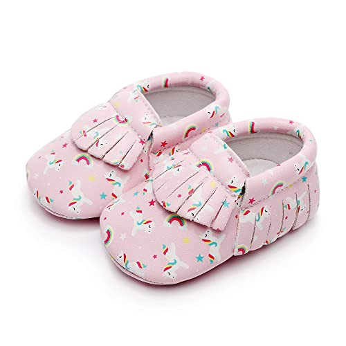 edf9ce419 Unicorn Dreams Vegan Leather Baby Moccasins Sizes 1-5 Pink