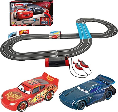 Carrera First Disney/Pixar Cars 3 - Slot Car Race Track - Includes 2 Cars: Lightning McQueen and Jackson Storm - Batt...