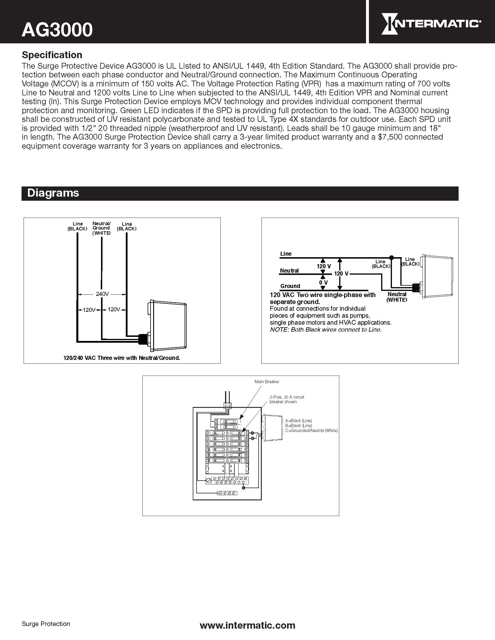 Intermatic AG3000 120/240 VAC Universal HVAC Surge Protective Device, Color