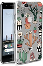 Google Pixel 2 Case, POKABOO Custom Floral Cactus Girls Clear Soft Silicone Non-Slip Shockproof Full Protective Phone Case for Google Pixel 2
