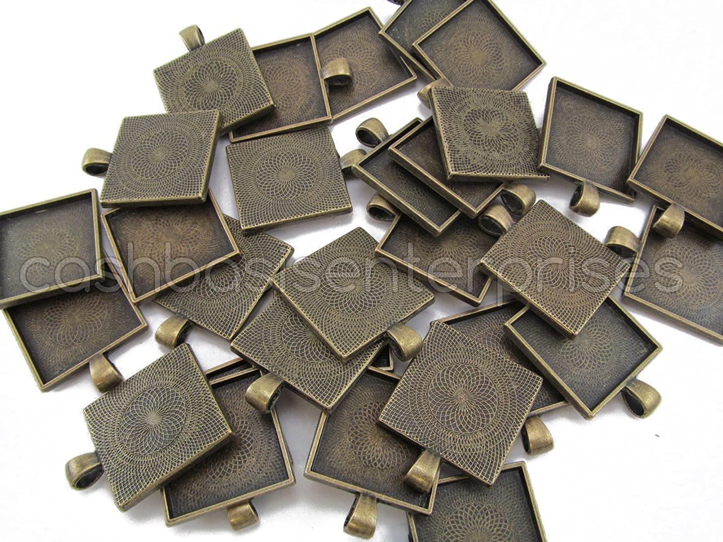 CleverDelights 20 Square Pendant Trays - Antique Bronze Color - 1 Inch - 25mm - Pendant Blanks Cameo Bezel Settings Photo Jewelry - Custom Jewelry Making - 1