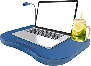 Laptop Lap Desk, Portable with Foam Filled Fleece Cushion, LED Desk Light, Cup Holder-for Homework, Drawing, Reading and More by Lavish Home (Blue)