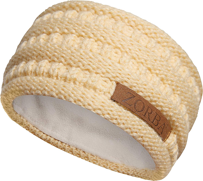 ZORBA Winter Ear Warmer Headband Fleece Lined Ear Muffs for Women Thick Knit Cold Weather Warm Head Wrap Ear Cover & Headwrap