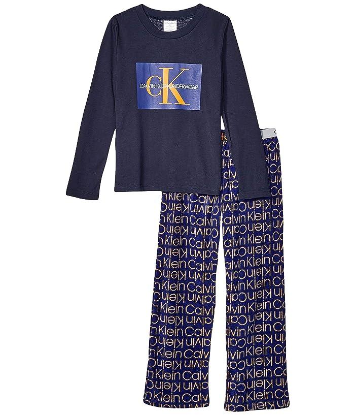 Piece Set Long Sleeve Top w/ Cozy Pants (Little Kids/Big Kids) (Black Iris/CK Blue Outline) Boy's Pajama Sets