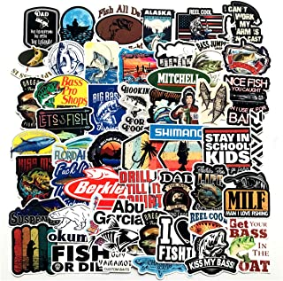 Go Fishing Stickers Pack 50-Pcs Decals of Fishing Bumper Stickers Decals for Cars Motorcycle Portable Luggages Laptops Waterproof Sunlight-Proof (Go Fishing)