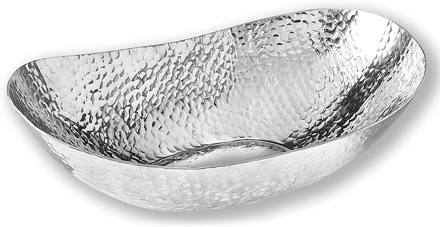 Extra Large 22-inch Hammered Aluminum Bowl Silve Oval Online In stock limited product Decorative