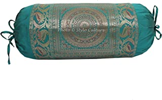Stylo Culture Polidupion Tradicional Cilíndrica Fundas De Almohadas 70x40 Yoga Decorativo Fundas para Almohada Bolster Covers Verde Mandala Tejido De Brocado Jacquard Grande For Sofa (1 Pc)