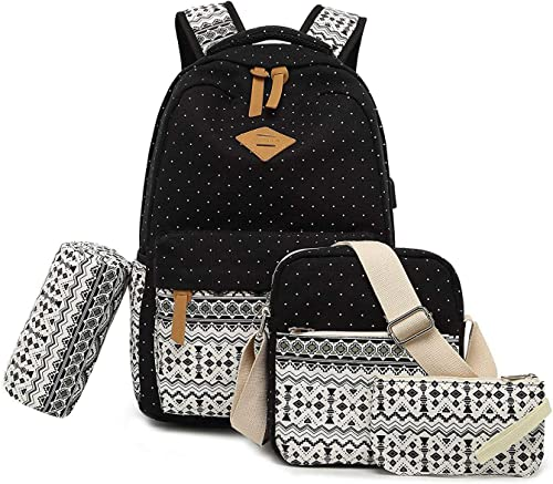 Vezela 4Pc Combo Of Laptop Bag With Usb Charging Feature With Lunch Bag, Pencil Case & Pouch (Black) product image