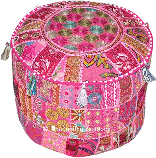 Indian Traditional Home Decorative Multi Ottoman Handmade And Patchwork Foot Stool Floor Cushion14x22 Inch
