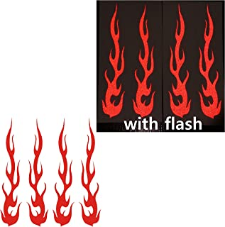 Red Hot Rod Fire Tribal Flame Ignite Flames Retro 3M Reflective Reflector Decal Sticker 1