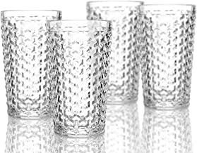 Elle Decor 229803-4HB Bistro Weave 4 Pc Set Highball, Clear-Glass Elegant Barware and Drinkware, Dishwasher Safe, 13.5 oz,