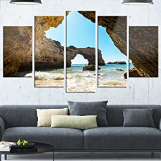 Designart Portugal Coast with Amazing Caves-Oversized Landscape Glossy Metal Wall Art, 60x32-5 Panels Diamond Shape, Brown