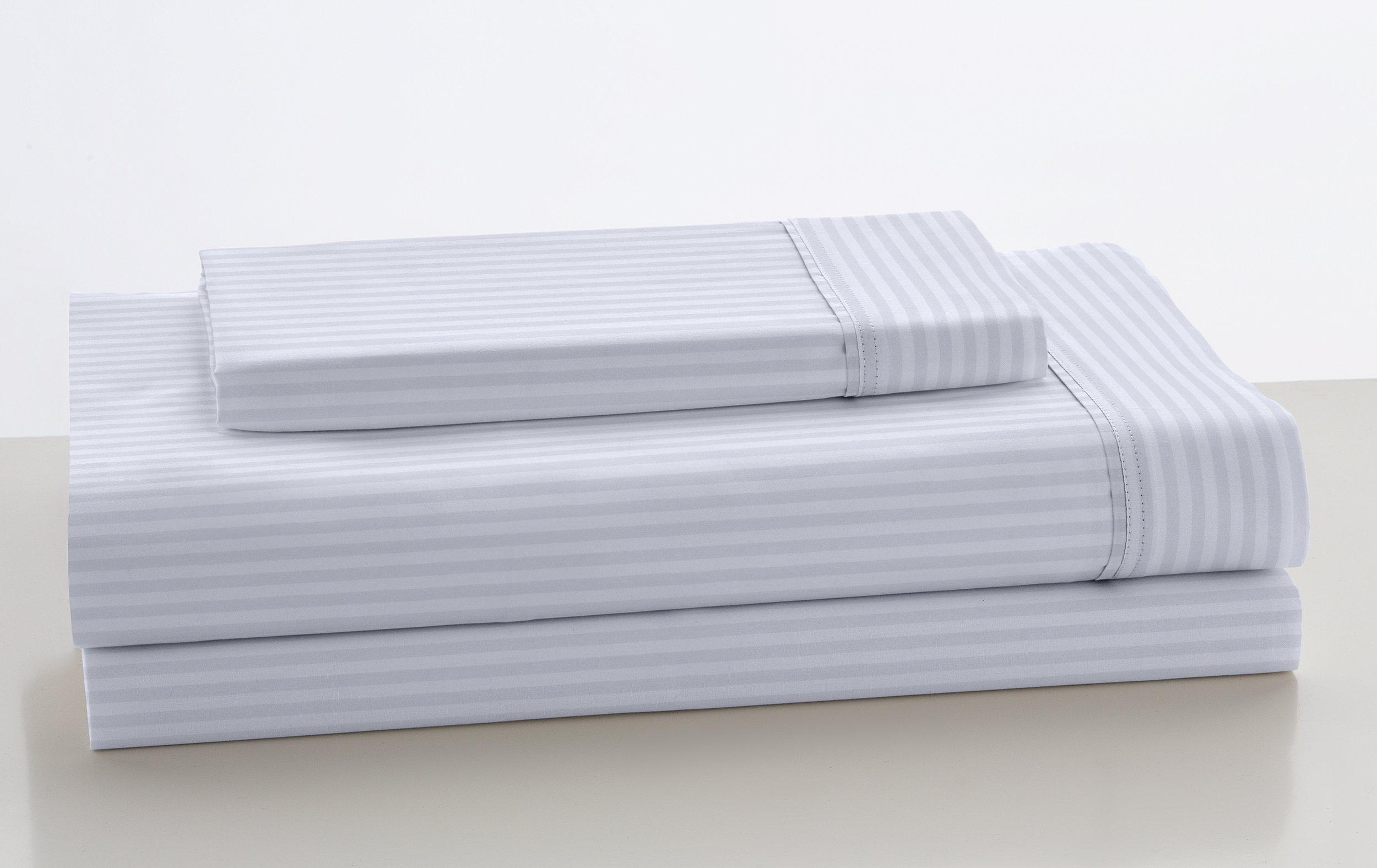 ESTELA - Juego de sábanas de satén LISTADO Color Blanco (3 Piezas) - Cama de 105 cm. - 100% Algodón - Satén de 300 Hilos - con Bajera Ajustable de 40 cm. de Altura.: Amazon.es: Hogar