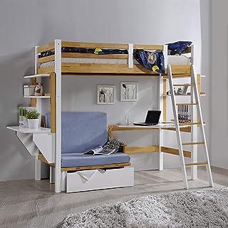 Deco In Paris Lit Mezzanine 90x190 cm avec Bureau chauffeuse et rangements en Bois et Blanc Armand