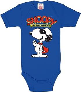 Logoshirt Snoopy Baby-Body Kurzarm Junge - Peanuts - Snoopy - Superdog Baby Strampler - blau - Lizenziertes Originaldesign