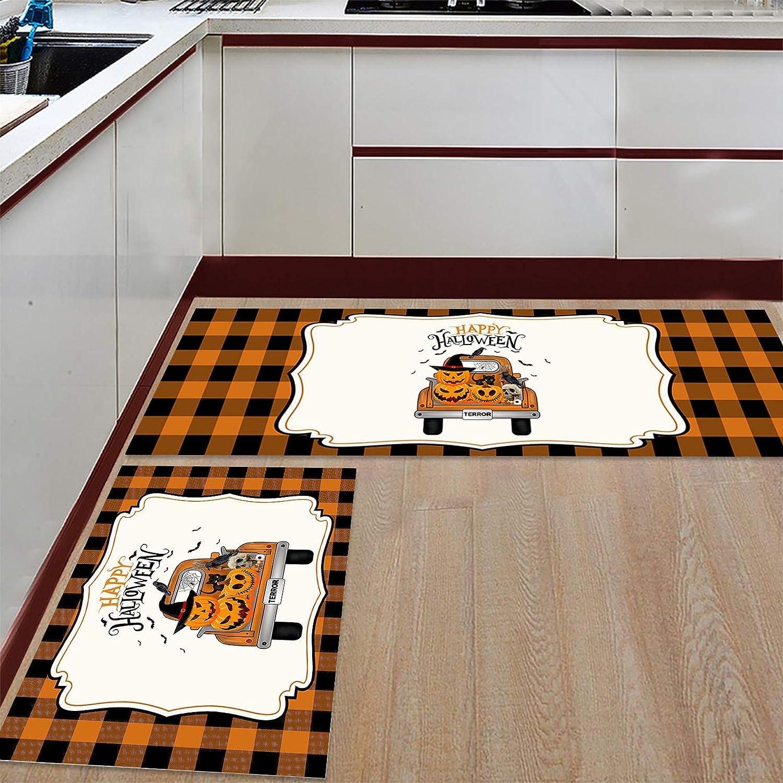 Very popular Kitchen Mat and Rugs Set of Popular popular 2 Happy Pumpkin Horror Tr Halloween