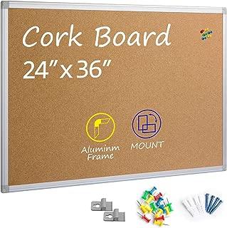 Board2by Cork Board Bulletin Board 24 x 36, Silver Aluminium Framed 2x3 Corkboard, Office Board for Wall Cork, Large Wall Mounted Notice Pin Board
