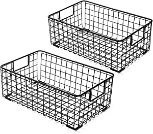 Kingrol 2 Pack Wire Storage Baskets with Handles, Metal Organizer Basket Bins for Home, Office, Nursery, Laundry Shelves Organizer
