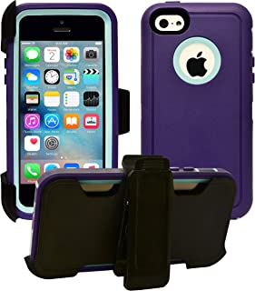AlphaCell Cover Compatible with iPhone 5C (Only)   2-in-1 Screen Protector & Holster Case   Full Body Military Grade Protection with Carrying Belt Clip   Drop Proof Shockproof Protective  