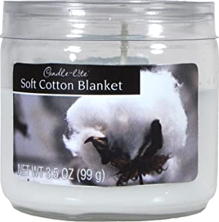 CANDLE-LITE Everyday Scented Soft Cotton Sheets Single Wick 3oz Small Sampler Glass Jar Candle, Fresh Ozonic Fragrance