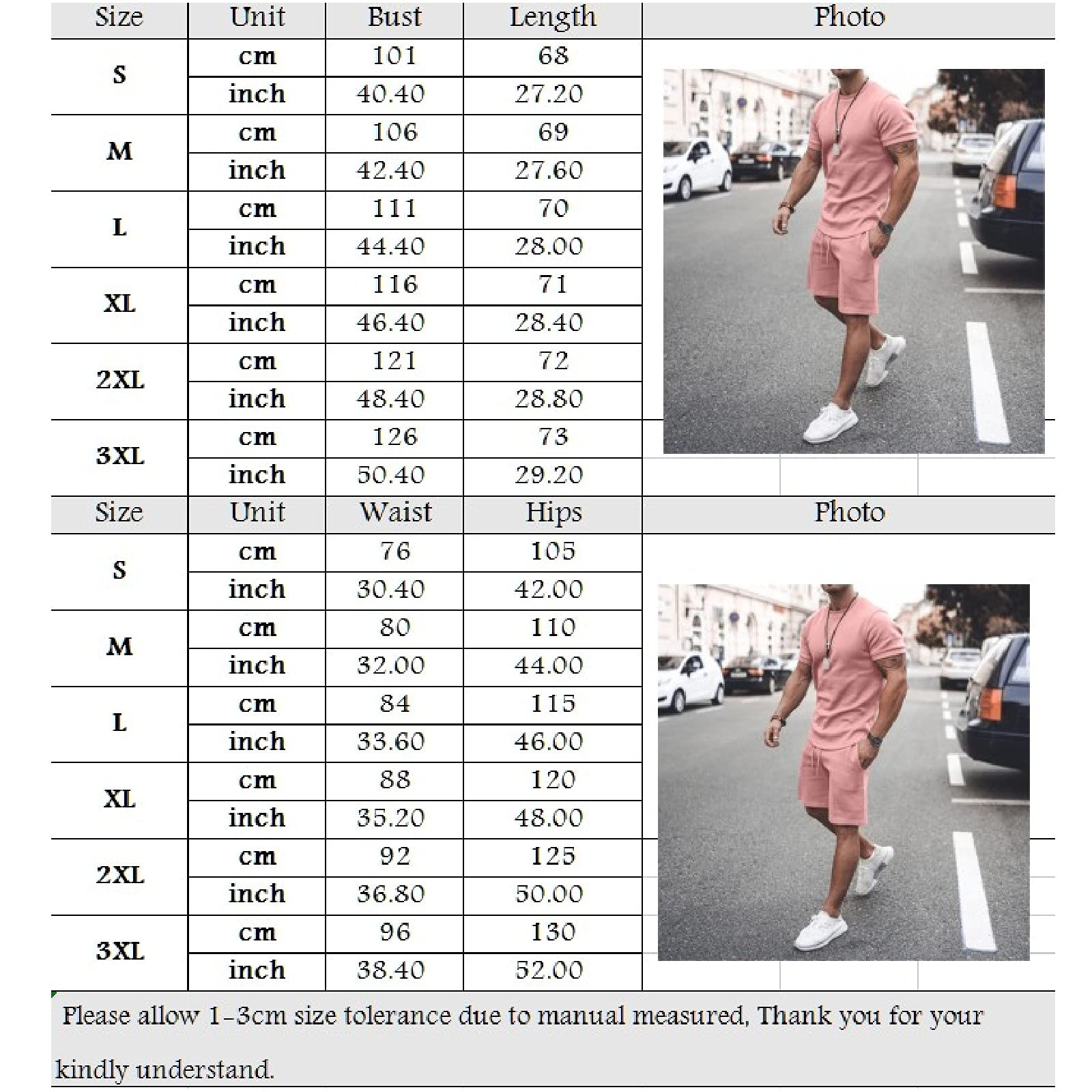 Men Summer Sports Suit Outfits-2 Piece Tracksuit Casual Solid Color T-Shirt and Shorts Sweatsuit Set
