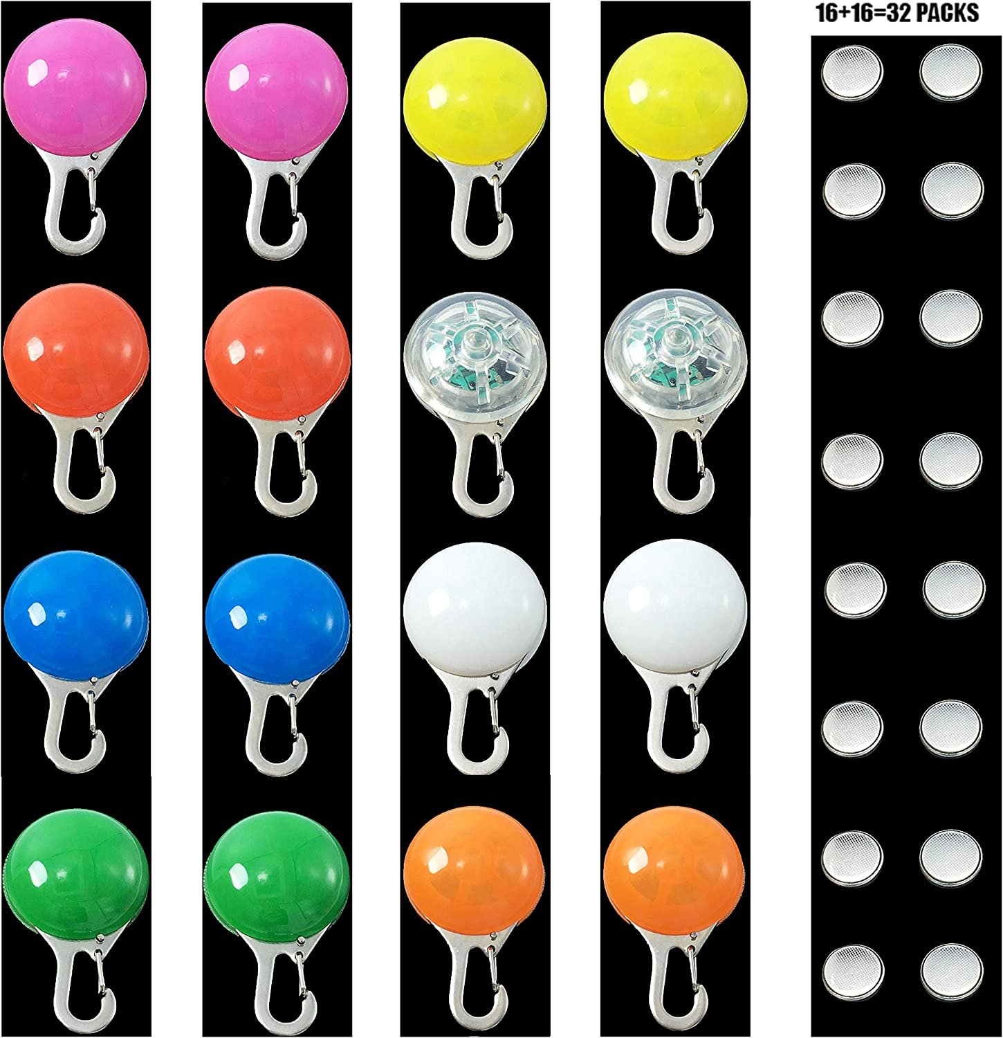 Aibushishou Rainproof Safety Lights for Dogs, Cats, or Night Visitors for Night Walks, Including Extra Battery,Replacement,pet Collar LED Mix color Lights Flash tag ID Tags (16 pcs)