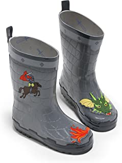 Dragon Knight Grey Natural Rubber Rain Boots With A Pull On Heel Tab (Big Kid)