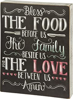 Primitives by Kathy Wood Box Sign, Bless The Food Before Us The Family Beside Us The Love Between Us Amen, 8
