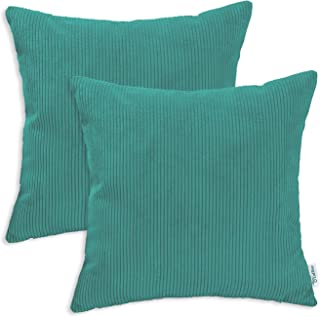 CaliTime Pack of 2 Cozy Throw Pillow Covers Cases for Couch Bed Sofa Ultra Soft Corduroy Striped Both Sides 18 X 18 Inches Teal