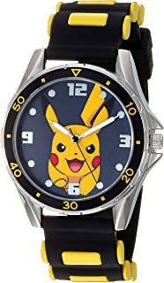 Boys' Analog Quartz Watch with Rubber Strap, Black, 21...