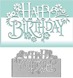 background  Set Of 2 Dies Card Making//Crafting Metal Cutting Die Happy Birthday