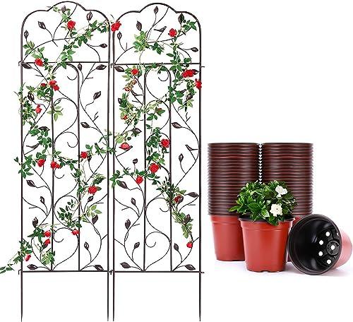 """wholesale VIVOSUN 2 Pack 60"""" popular x 15"""" Garden Trellises for Climbing outlet sale Plants, and 100 Pieces 4 Inch Planter Pots online"""
