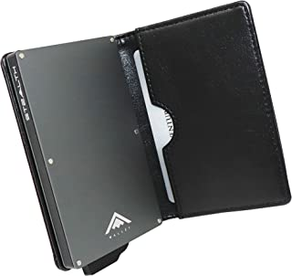 Porte-Cartes De Cr/édit Noir Anti RFID de GLOBEPOOF/® avec 4 Bandes /Élastique pour Un Maximum de 40 Cartes Portefeuille Magique M/étallique De Carbon