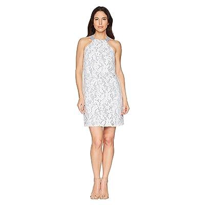 Maggy London Breezy Leaf Lace Shift Dress (White/Blue) Women