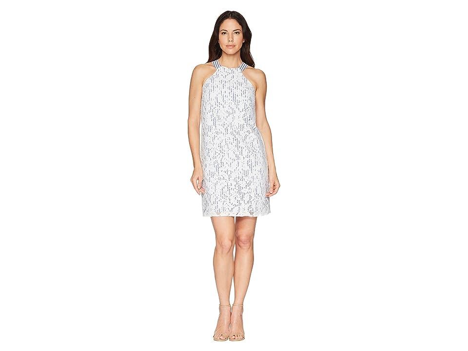 64ad8856 Maggy London Breezy Leaf Lace Shift Dress (White/Blue) Women