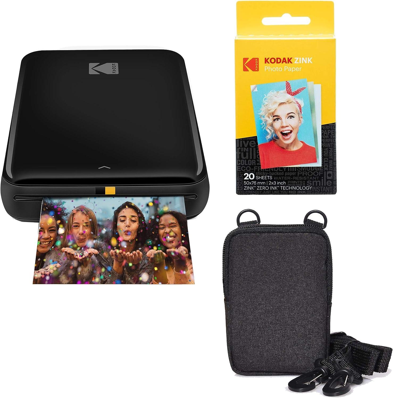 KODAK Step Wireless Mobile Photo Mini Printer (Black) Go Bundle