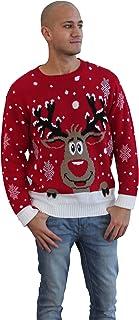 comprar comparacion CelebLook Hombre Vintage Reno De Navidad Suéter Cuello Redondo suéter pulóver