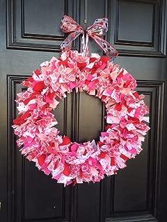 Valentines Day Rag Tie Round Wreath