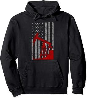 Landman USA Flag Oil Rig US Worker Funny Gift Pullover Hoodie