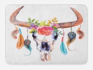 Ambesonne Feather Bath Mat, Watercolor Style Bull Skull with Ornaments Vibrant Image, Plush Bathroom Decor Mat with Non Slip Backing, 29.5