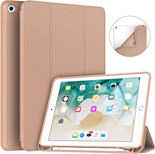 Soke iPad 9.7 2018/2017 Case with Pencil Holder, Slim Fit Smart Case Trifold Stand with Shockproof Soft TPU Back Cover and Auto Sleep/Wake Function for iPad 9.7 inch 5th/6th Generation, Rose Gold